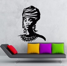 Home Decor Vinyl Black Lady Wall Sticker Beauty Salon Decoration Poster Africa Beautiful Girl Decals Art 2FZ3