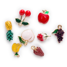 1 Piece Zinc alloy Enamel Charms 3D Fruit Pendants Jewelry Making Fit Necklace Bracelet Earrings For Women DIY 15-21mm(China)