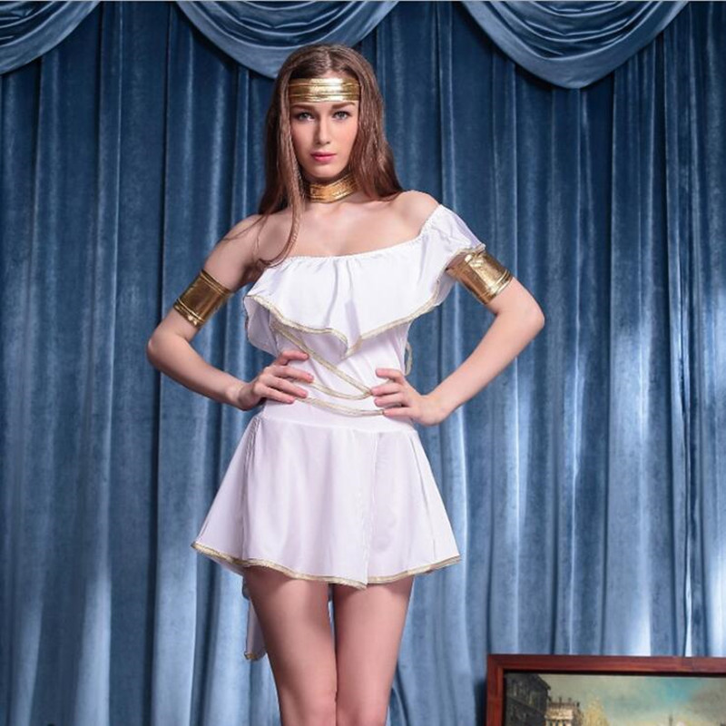 2018 Women Lady Egypt Goddess Cosplay Costume Adults Queen Dress Costumes Halloween Carnival Party Supplies Purim