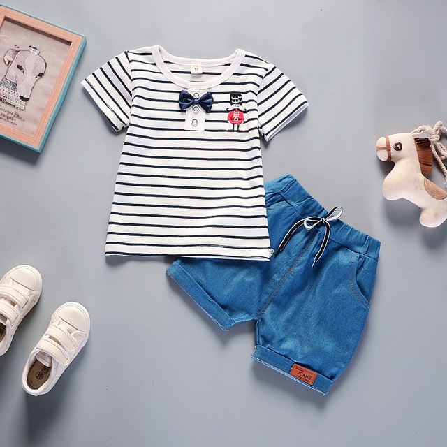 c710adc39 Baby Girl Clothes Korean Summer Style Black White Stripe Short ...