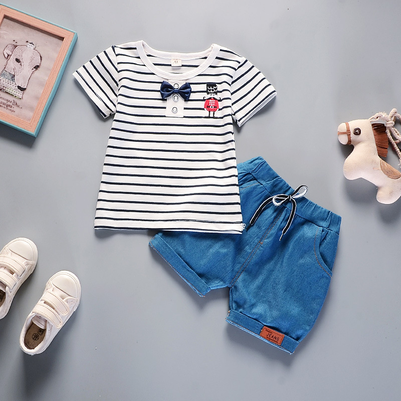Baby Girl Clothes Korean Summer Style Black White Stripe Short Sleeved T-shirt Tops + Denim Shorts 2PCS Kids Bebes Jogging Suits