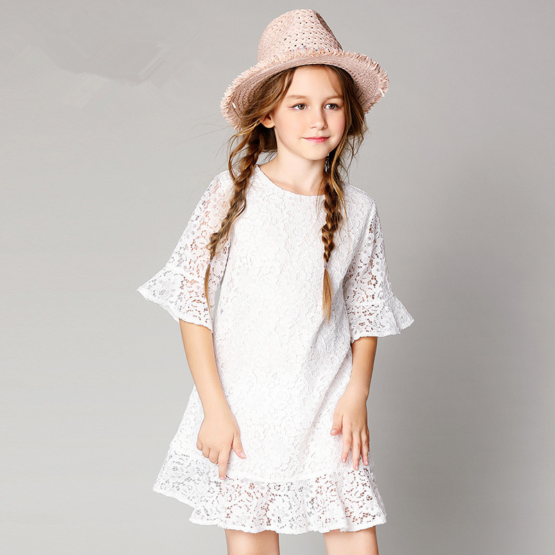 summer dress girl 3-12 year old girl summer 2018 new round collar lace dress contrast collar foldover front dress