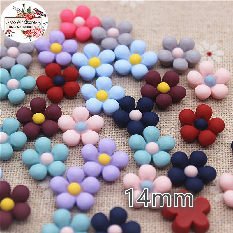 50pcs 14mm Mix Color Flower Resin Flatback Cabochon DIY Jewelry/phone Decoration No Hole
