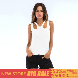 Sexy Shoulder Strap Slim Tank Top Women Solid Knitted Sleeveless Summer Top Women Casual Streetwear Camis Tops Mujer Verano 2019