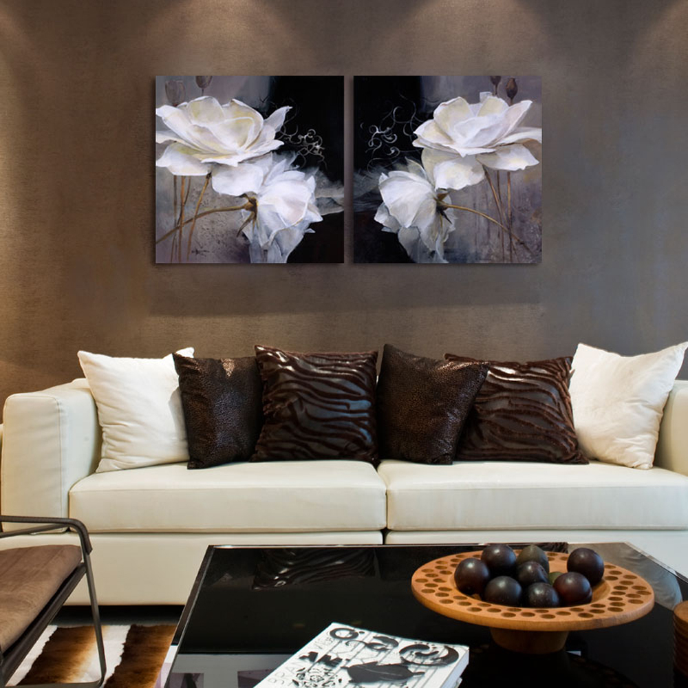 Cheap chinese classic black white grey lotus canvas prints for House decoration pieces