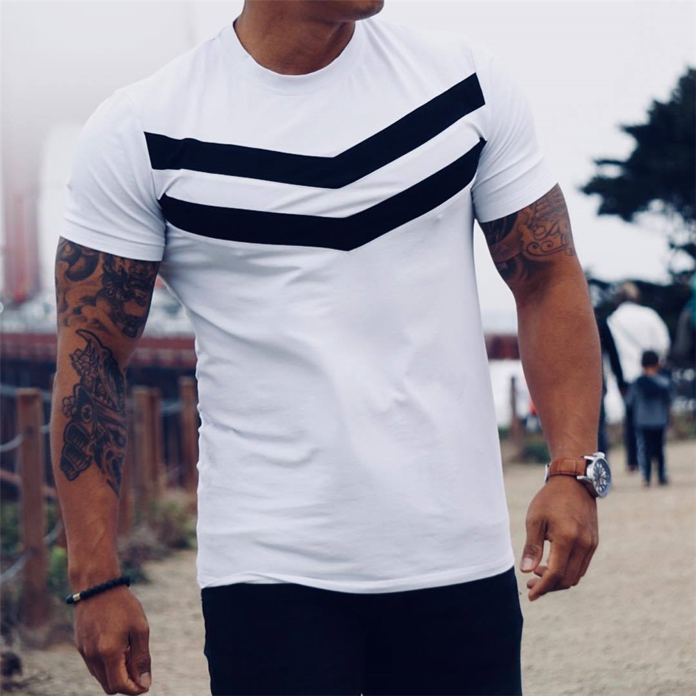 New Men T-shirt Cotton Short Sleeves black Undershirt Male Solid stripe Mens Tee Summer Brand Clothing Homme camiseta masculina title=