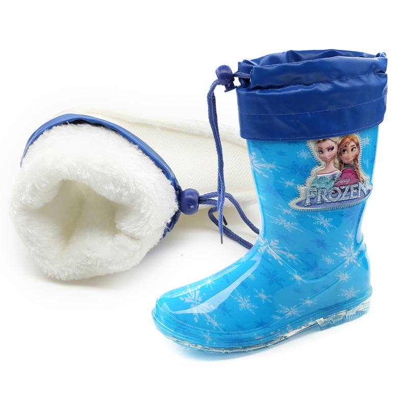 2019 New Disney Princess Frozen Children Plus Velvet Thick Warm Rain Boots Rubber Shoes Cartoon PVC Girls Water Shoes Size 26-31