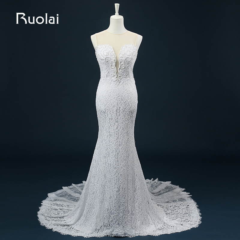 Real Picture Scoop Mermaid Sweep Train Lace with Pearls font b Wedding b font Dresses 2016