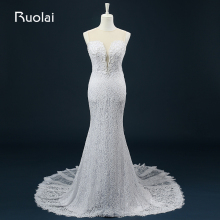 Real Picture Scoop Mermaid Sweep Train Lace with Pearls Wedding Dresses 2016 Bridal Gown Vestido de Novia largo Wedding ASAFN43