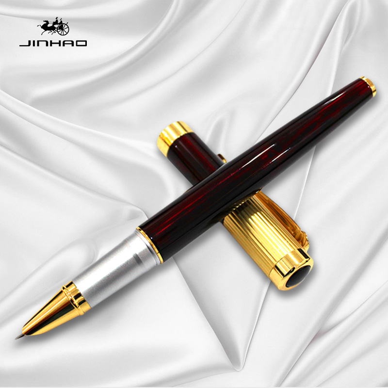 Writing Stationery Supplies Jinhao 9009 Red and Gold Clip Fountain Pen with 0.38mm Extra Fine Nib Metal Ink Pens Free Shipping