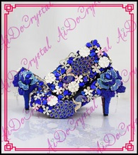 Aidocrystal Förderung preis königlichen serie Italienische passenden schuh und tasche set mit kristall high heel size35-44 kostenloser versand