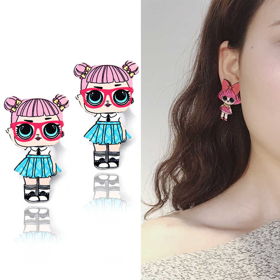 Fashion Gadis Permen Stud Anting-Anting untuk Wanita Gambar Kartun Gadis Anting-Anting Anime Lucu Anting-Anting Romantis Pacar Telinga Perhiasan Aksesoris