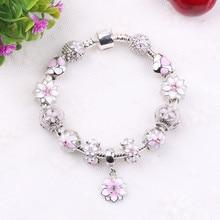 ФОТО aifeili zircon pendant bracelets pink flower bead lock charms romantic gift fit women bracelets for original bracelets