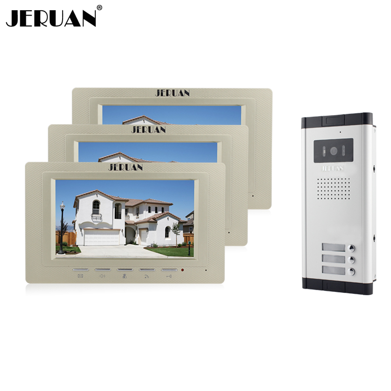 JERUAN Wholesale New Home Apartment Intercom System 3 Monitors wired 7 Color HD Video Door Phone intercom System FREE SHIPPING brand new apartment intercom 2 monitor wired 7 inch hd color touchkey video door phone intercom system for 2 house free shipping