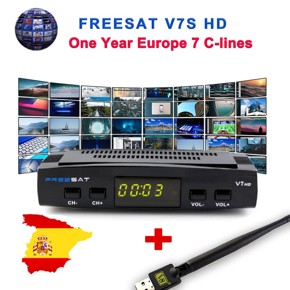 DVB-S2 V7 Freesat HD 1080 P Receptor de Satélite TV + USB WI-FI Anttena Espanha Alemanha Sintonizador de TV PK V8 Super + 1-ano a Espanha Europa Cline