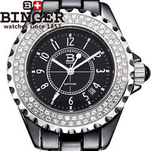 Оптовиков люксовый бренд Бингер мода Женщин горный хрусталь Часы Черный циферблат Керамические кварцевые часы подарок полный cz алмазов наручные часы