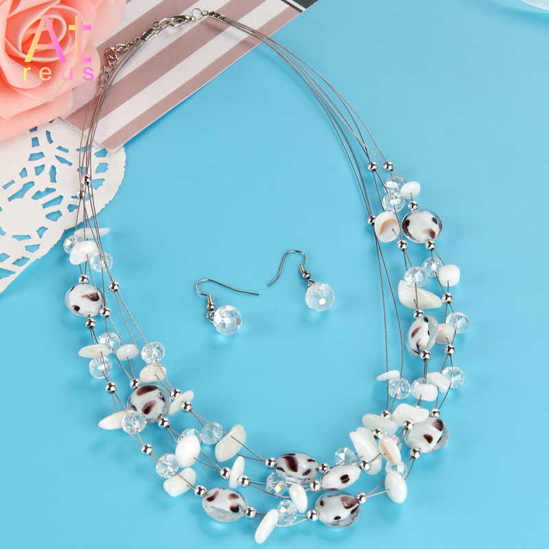 Bohemian Summer Jewelry Set Multilayer Silver Color Stainless Steel Chain Shell Crystal Beads Beaded Necklace Bling Drop Earring
