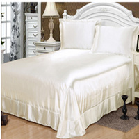 100% Satin Silk bedding sets,bed linen White Satin bedspread pillowcase bed sheet set,juegos ropa de cama sabana ajustable