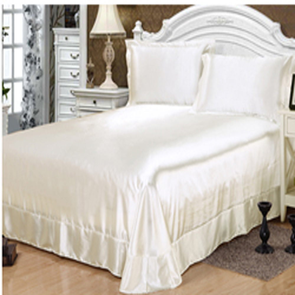 100 satin de soie ensembles de literie linge de lit blanc satin couvre - Parure De Lit Mariage Tunisie