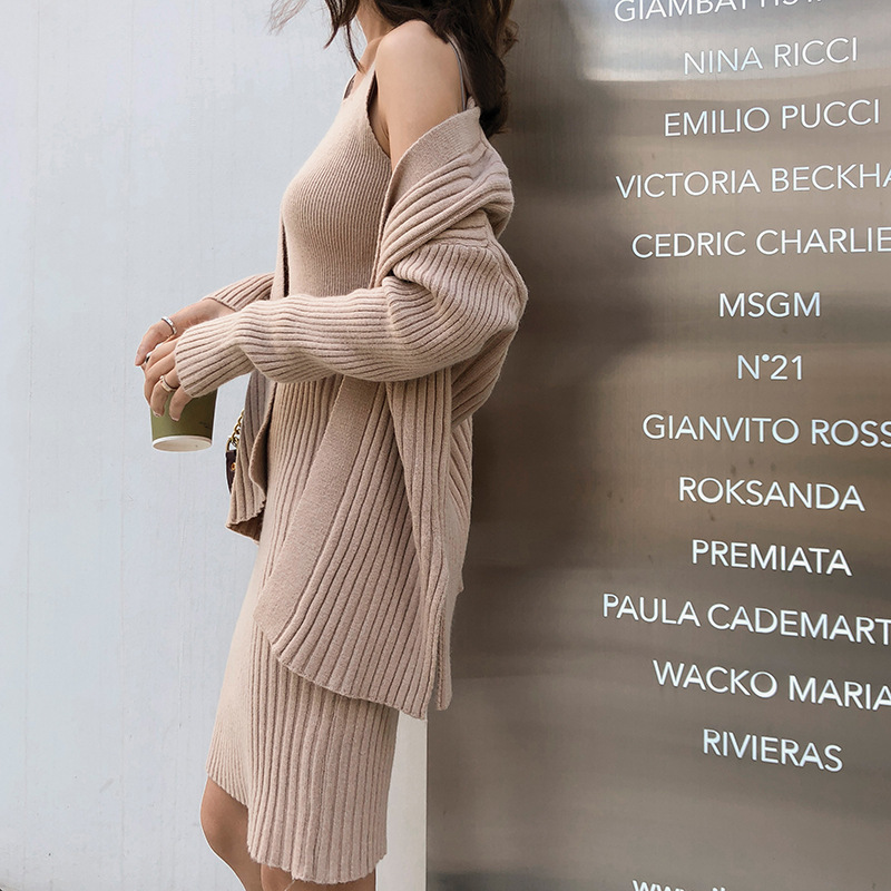 Winter New 2018 Korean Vest Sweater Dress Twinset Knitting Cardigan Camisole 2pcs Set Clothing Woman F5453