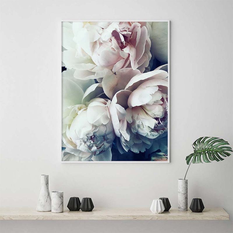 GOODECOR Nordic Flowers Posters Print Blush Peony Wall Pictures For Living Room Modern Scandinavian Pictures Art Canvas Painting