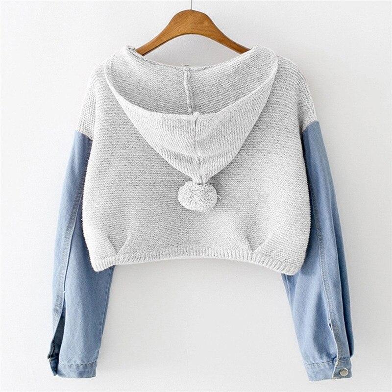 New Style Fashion Women Female Sweatshirt Blouse Long Sleeve Knit Fur Demin Jean Blouse Short Hoodies Sweatshirt For Women #20