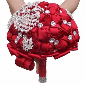 Image 2 - WIFELAI A Wine Red Rose Brooch Throw Wedding Bouquets de mariage Polyester Bridal Wedding Bouquets Pearl Flowers W290 5