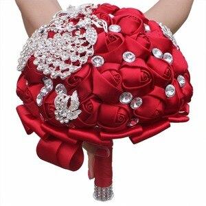 Image 2 - WIFELAI A יין אדום עלה סיכת לזרוק זרי חתונה דה mariage פוליאסטר כלה חתונה זרי פנינת פרחים W290 5