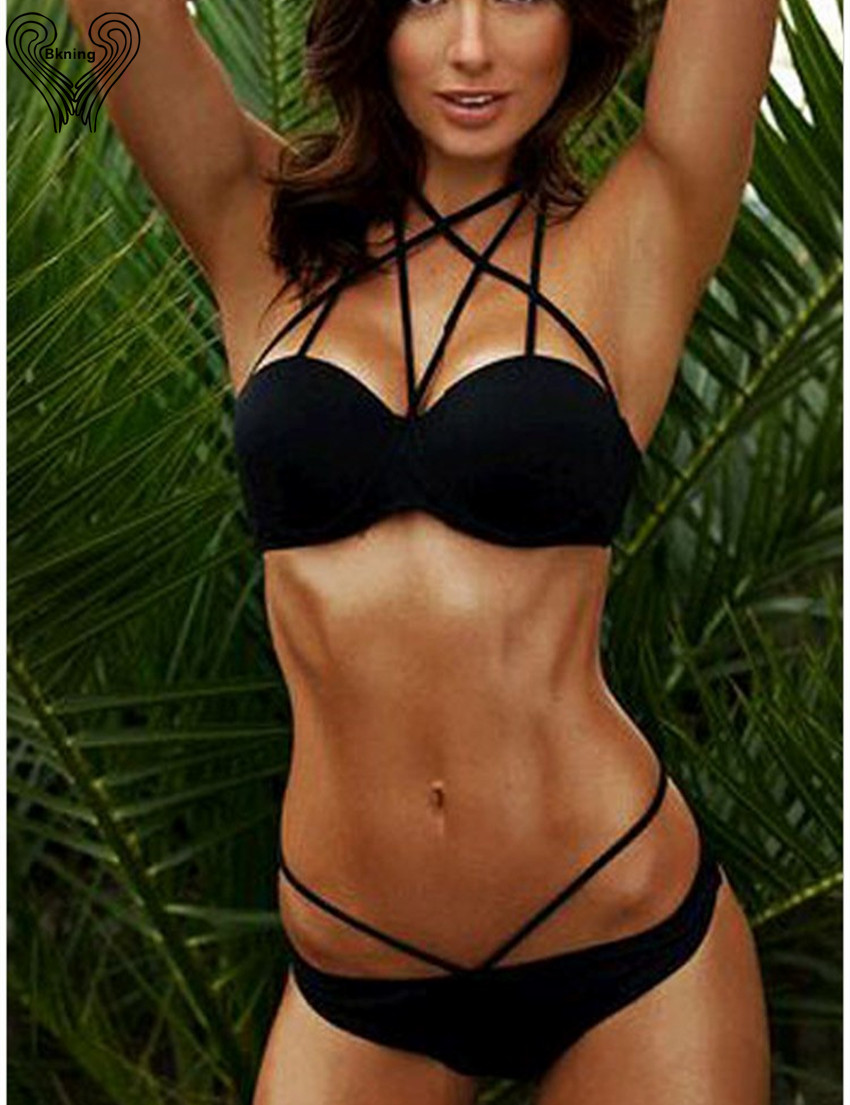 Black Halter Bikini Set Push Up Swimwear Swimming Suit For Women Female Biquini Maillot De Bain Femme Bikinis Swimsuit Monokini  4