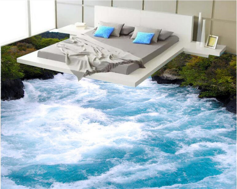 где купить beibehang Fashion high quality pvc wallpaper HD spectacular river spray bathroom 3d flooring painting papel de parede wall paper по лучшей цене