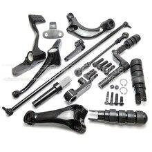 Preto Frente Controles Kit Completo com Estacas 1200XL Vínculos de Alavancas para Harley Davidson Sportster 2004-2013