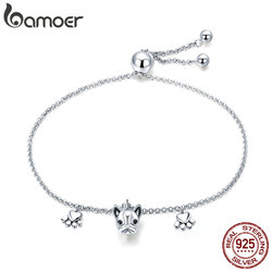 BAMOER Genuine 925 Sterling Silver Trendy Bulldog Footprints Link Bracelets Clear CZ Fashion Bracelet Jewelry Making Gift SCB085
