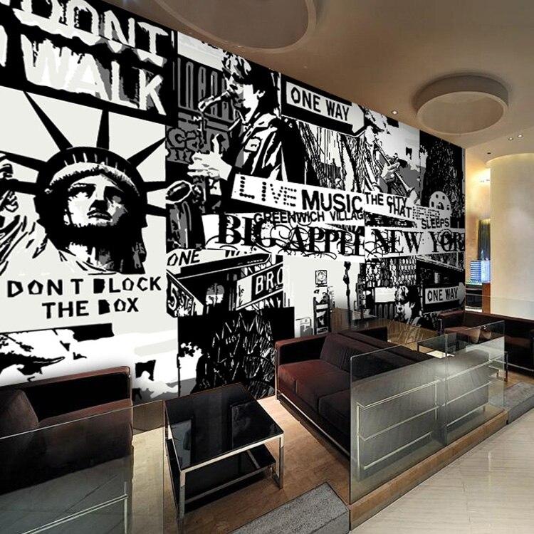 Individuelle Fototapeten Retro Cafe Restaurant Kreative Wohnzimmer Tapete Amerikanischen Graffiti Wandbild