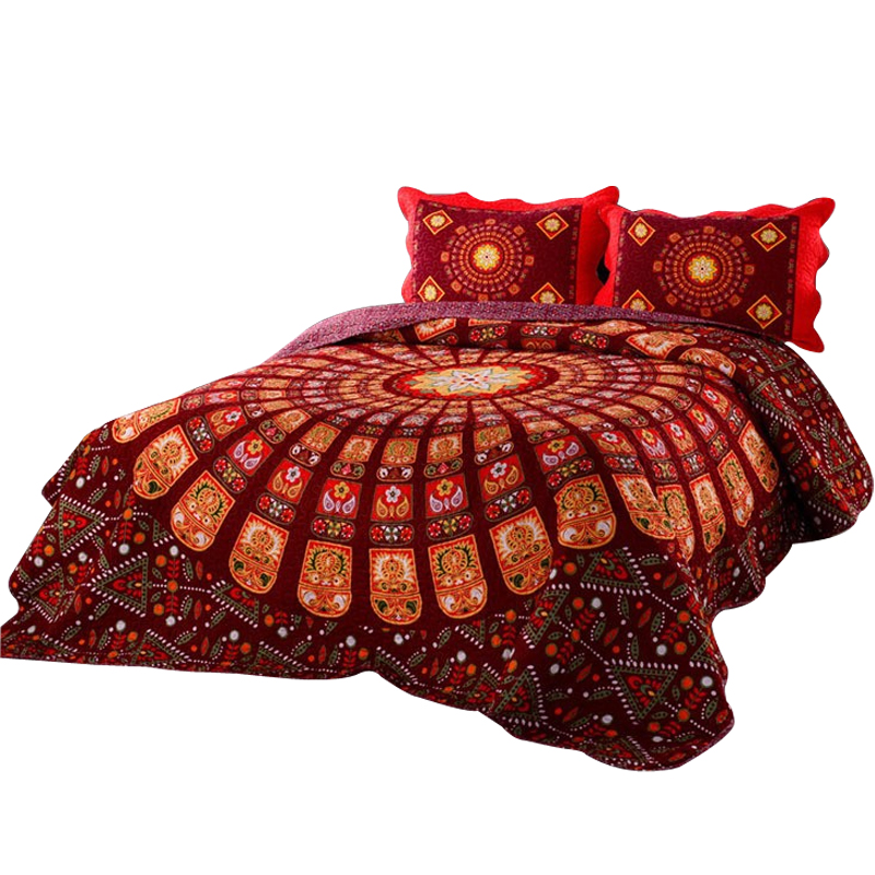 Svetanya Bohemia Bedspread Mandala Print 3pcs Coverlet Set Blanket  230x230cm Bedsheet Plaid Red Wedding(China