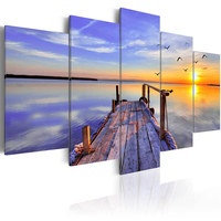 5 Panel Wall Poster Painting Canvas Painting Sand Dunes In the Living Room Canvas Home Decor Print Seascape With Sunset Picture