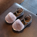 2016 girl winter warm shoes small female child princess shoes rabbit fur boots plush shoes baby shoes