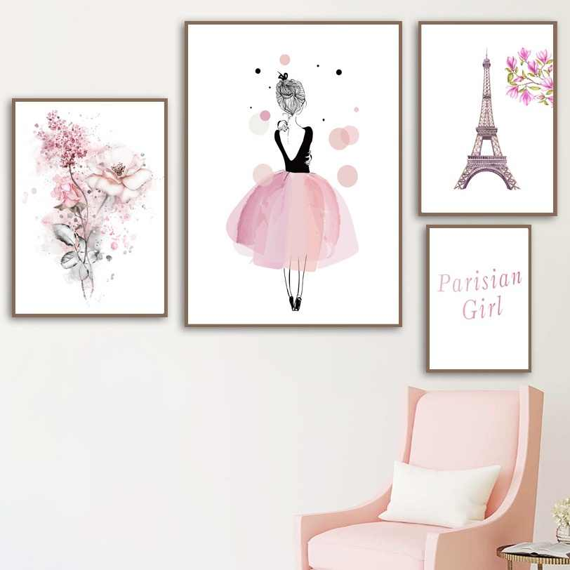 Fantastic Watercolor Cherry Magnolia Flower Girl Paris Tower Wall Art Canvas Painting Posters And Prints Wall Pictures For Kids Room Decor Gmtry Best Dining Table And Chair Ideas Images Gmtryco