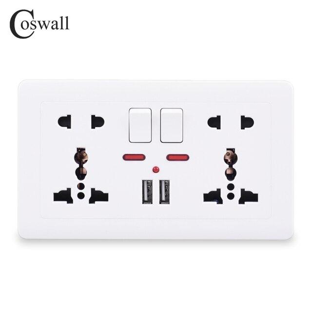Coswall ścienne gniazdo zasilające podwójne uniwersalne 5 otwór przełączane wylot 2.1A podwójny port ładowarki usb LED wskaźnik 146mm * 86mm złoty