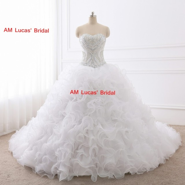 Long Ball Gown Wedding Dresses Beaded Rhinestones Bridal Party Gowns Fairytale Princess Dress Unique Design