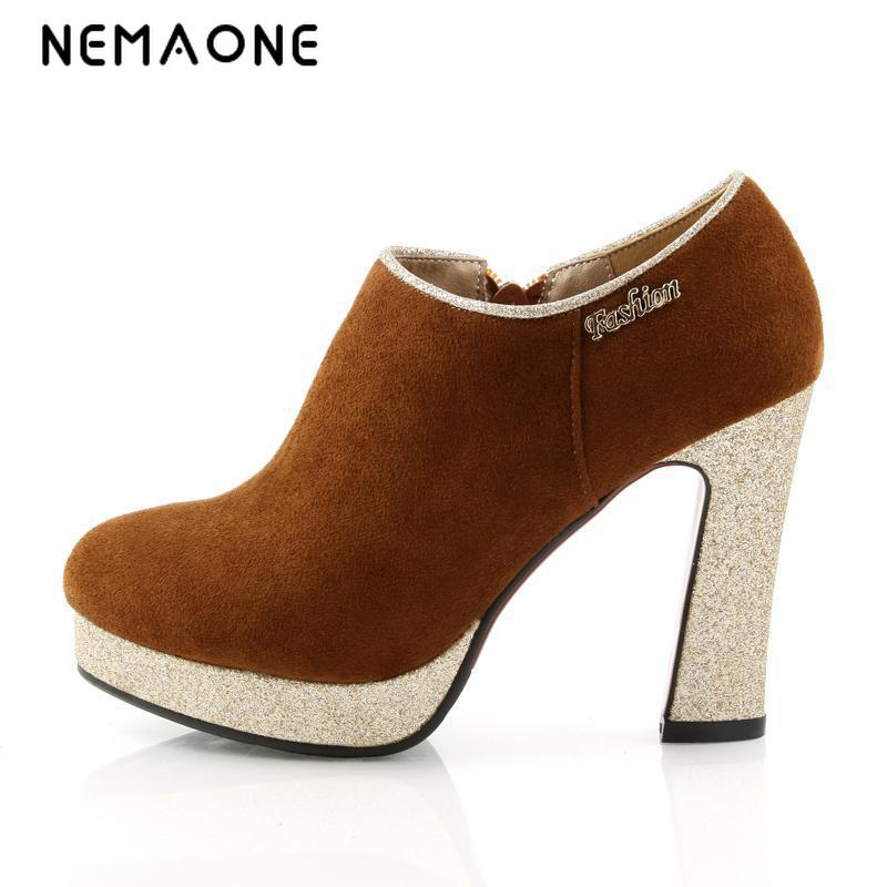 NEMAONE Spring Air Sweet New Buckle Strap Round Toe Square Heels Faux Leather Womens Shoes Dress Pump Woman Shoes серьги chantal серьги