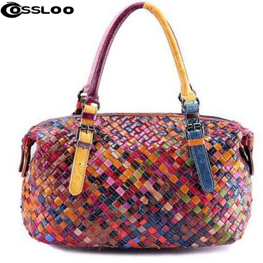 COSSLOO 2018 Hot Women Designer Genuine Leather Handbag Lambskin sheepskin Shoulder Messenger Bags travel Bolsa Feminina Tote цена 2017