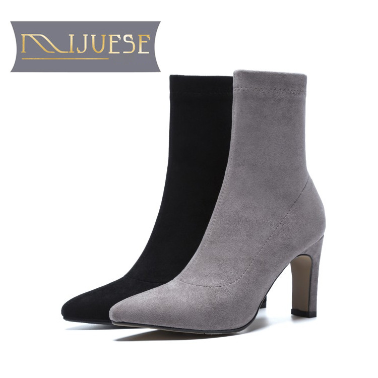 MLJUESE 2019 women Mid calf boots Gray color slip on pigskin insole pointed toe autumn spring women martin boots casual boots 2018 spring new white solid color pointed toe spike heels slip on mid calf short boots women s off white leather boots lady