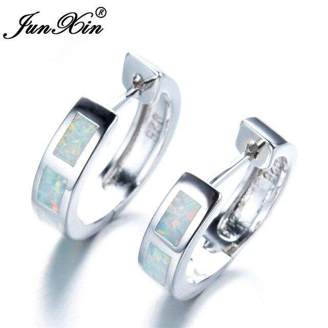 JUNXIN Women White Round Fire Opal Earring 925 Sterling Silver Filled Hoop  Earrings For Women Fashion cd085c9b1701