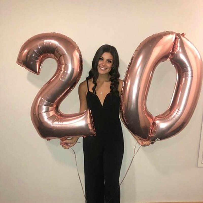 2 sztuk 32 40 cal srebrny złote balony foliowe cyfry duża cyfra 20 balon helem dekoracje ślubne 20th materiały urodzinowe