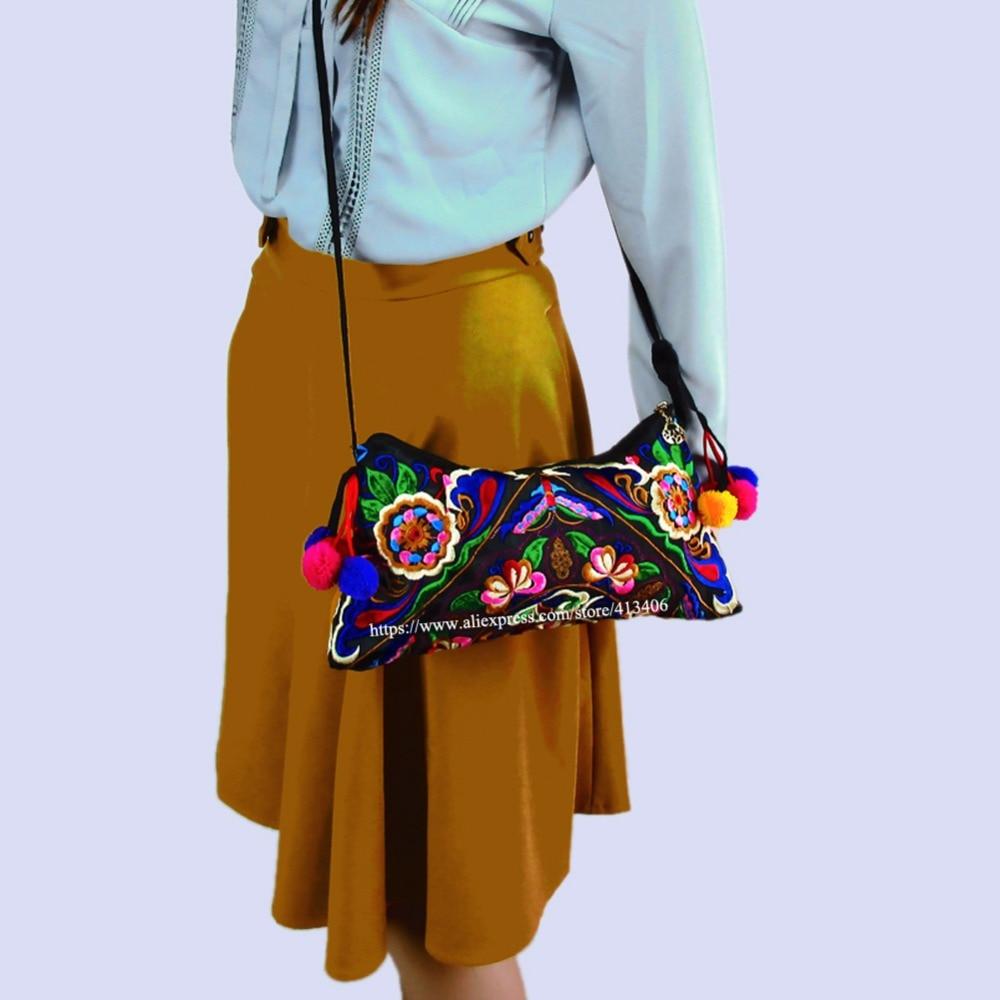 Vintage Hmong Tribal Ethnic Thai Indian Boho shoulder bag messenger embroidery, pom pom trim SYS-551