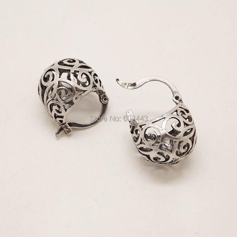 Brillant Eq245 Nette Aushöhlen Ball Antike Silber Farbe Vintage Ohrringe Für Frauen Mädchen Neue Schmuck Bijouterie Mode Ohrringe