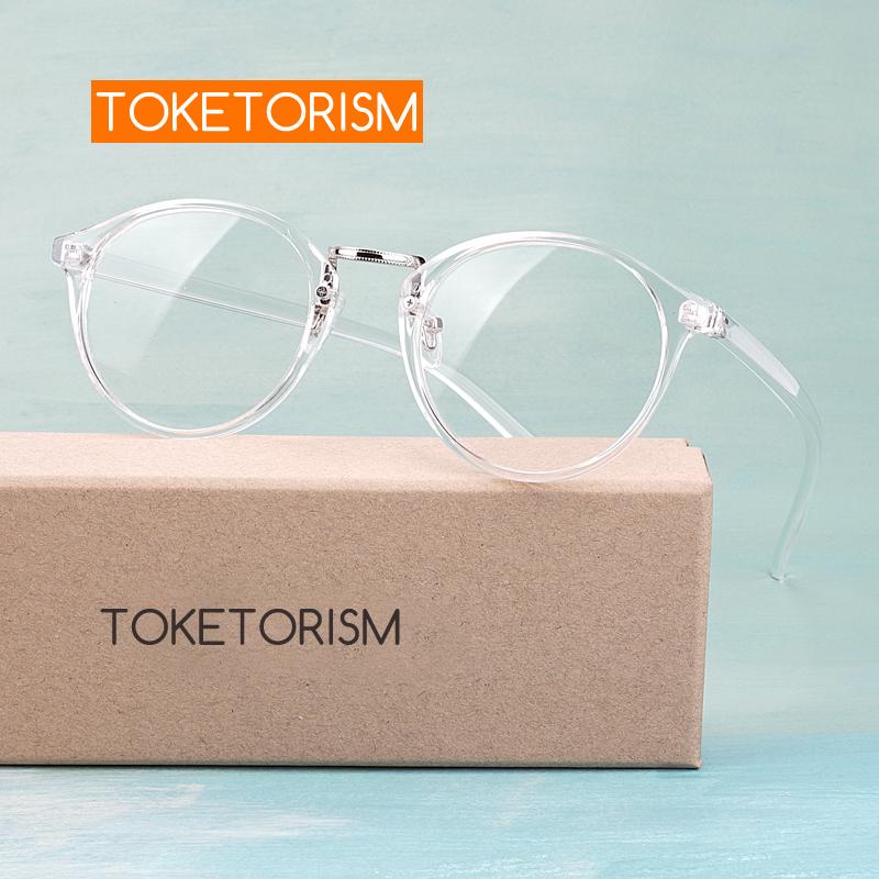 Toketorism Transparent Eyeglasses Vintage Men Women Fashion Spectacles Prescription Glasses Frame 5608