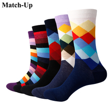 Match Up Men Gradient Color Crew socks Brand Business Socks 5 pairs lot
