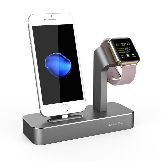 Ivapo 2 en 1 muelle de carga para apple watch soporte de aluminio sólido estación de carga con soporte del teléfono para el iphone 7 6 6 s más 6 s 5