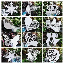 50x Butterfly Wine Glass Card Table Name Card Angel Bird Heart Love Star Snowflake Cup Car